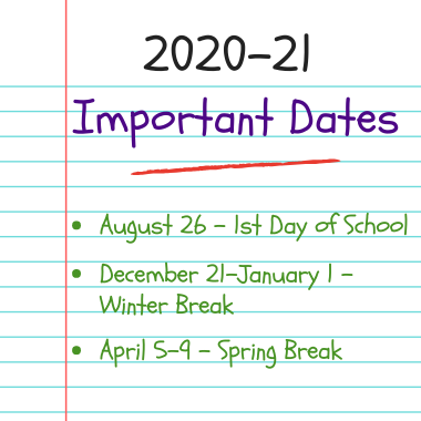 2020-21 Dates to Remember