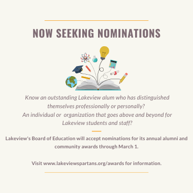 Lakeview Board Seeks Nominations for Alumni & Community Awards
